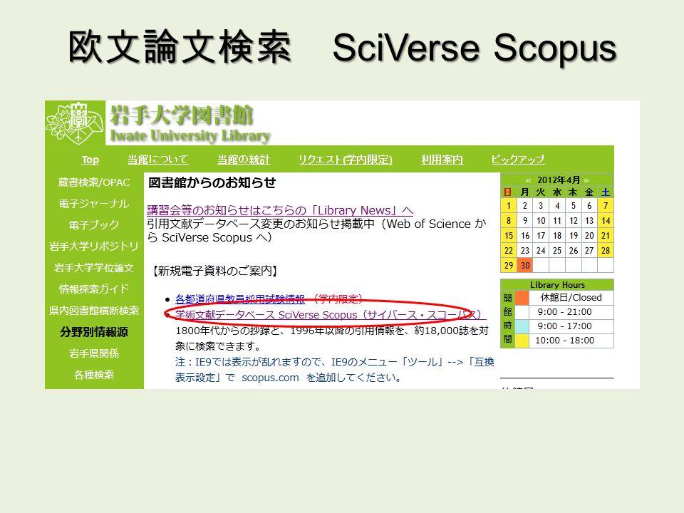 欧文論文検索 SciVerse Scopus