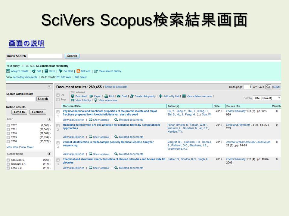 SciVers Scopus 検索結果画面 画面の説明