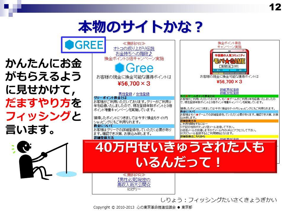 本物のサイトかな? Copyright © 2010-2013 心の東京革命推進協議会 ● 東京都 かんたんにお金 がもらえるよう に見せかけて, だますやり方を フィッシングと 言います。 しりょう:フィッシングたいさくきょうぎかい 40万円せいきゅうされた人も いるんだって! 12