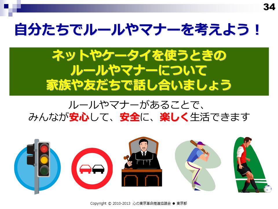 安心安全楽しく ルールやマナーがあることで、 みんなが安心して、安全に、楽しく生活できます ネットやケータイを使うときの ルールやマナーについて 家族や友だちで話し合いましょう Copyright © 2010-2013 心の東京革命推進協議会 ● 東京都 自分たちでルールやマナーを考えよう! 34