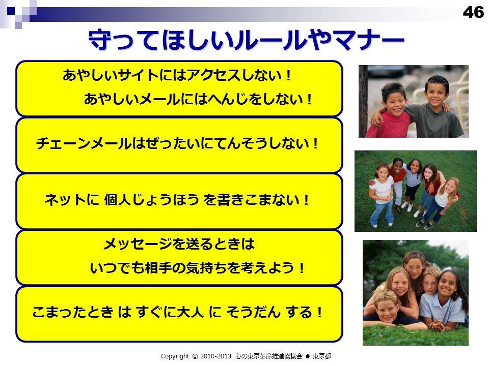 守ってほしいルールやマナー Copyright © 2010-2013 心の東京革命推進協議会 ● 東京都 あやしいサイトにはアクセスしない! あやしいメールにはへんじをしない! チェーンメールはぜったいにてんそうしない!ネットに 個人じょうほう を書きこまない! メッセージを送るときは いつでも相手の気持ちを考えよう! こまったとき は すぐに大人 に そうだん する! 46