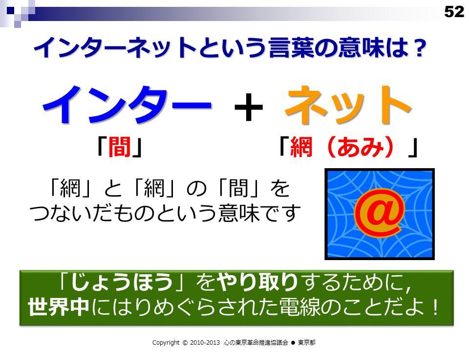 インター ネット インター + ネット 「間」「間」「網(あみ)」 「網」と「網」の「間」を つないだものという意味です 52 Copyright © 2010-2013 心の東京革命推進協議会 ● 東京都 インターネットという言葉の意味は? 「じょうほう」をやり取りするために, 世界中にはりめぐらされた電線のことだよ! 「じょうほう」をやり取りするために, 世界中にはりめぐらされた電線のことだよ!