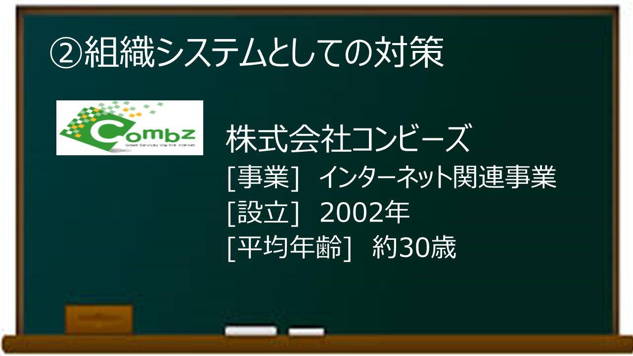 ②組織システムとしての対策 株式会社コンビーズ [事業] インターネット関連事業 [設立] 2002年 [平均年齢] 約30歳