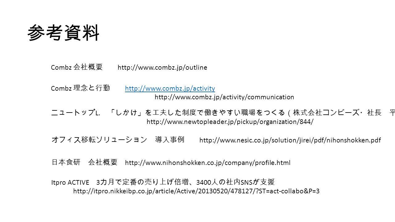 Combz 会社概要 http://www.combz.jp/outline Combz 理念と行動 http://www.combz.jp/activity http://www.combz.jp/activity http://www.combz.jp/activity/communication ニュートップ L.