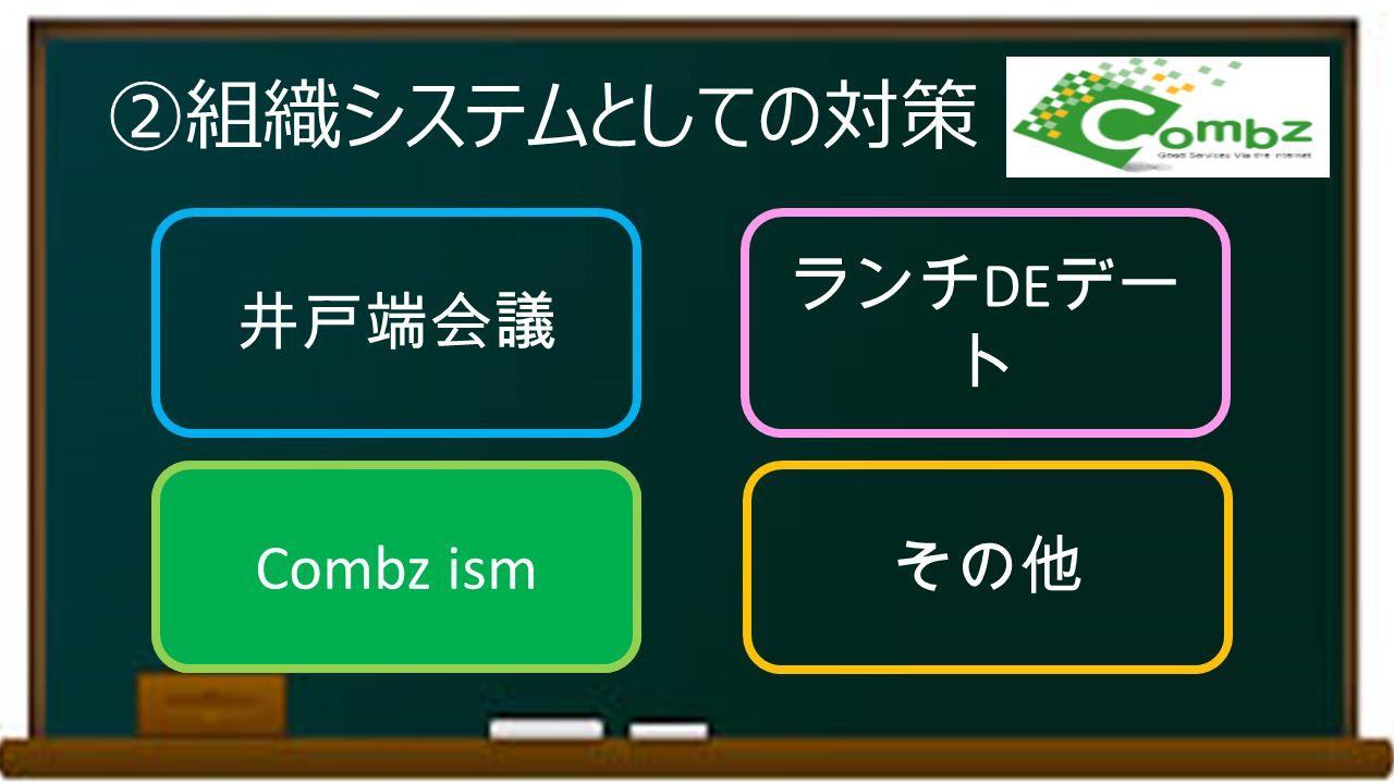 ②組織システムとしての対策 井戸端会議 ランチ DE デー ト Combz ism その他 Combz ism