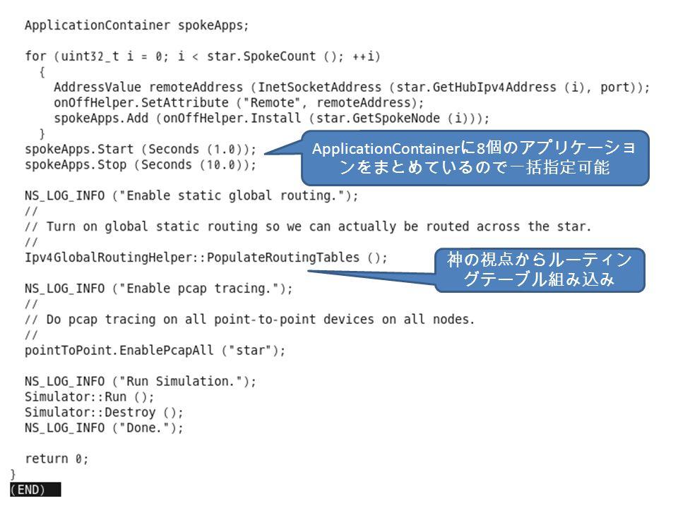 神の視点からルーティン グテーブル組み込み ApplicationContainer に 8 個のアプリケーショ ンをまとめているので一括指定可能