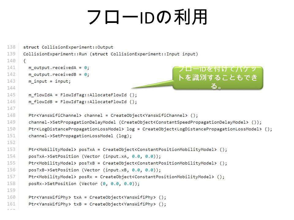 フロー ID の利用 フロー ID を付けてパケッ トを識別することもでき る。