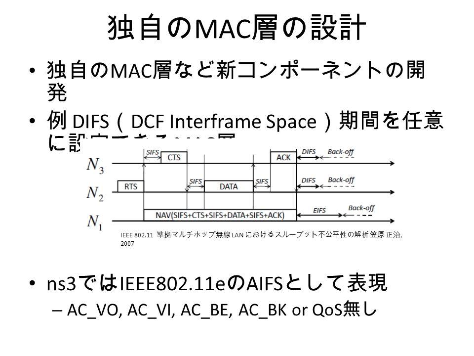 独自の MAC 層の設計 独自の MAC 層など新コンポーネントの開 発 例 DIFS ( DCF Interframe Space )期間を任意 に設定できる MAC 層 ns3 では IEEE802.11e の AIFS として表現 – AC_VO, AC_VI, AC_BE, AC_BK or QoS 無し IEEE 802.11 準拠マルチホップ無線 LAN におけるスループット不公平性の解析 笠原 正治, 2007