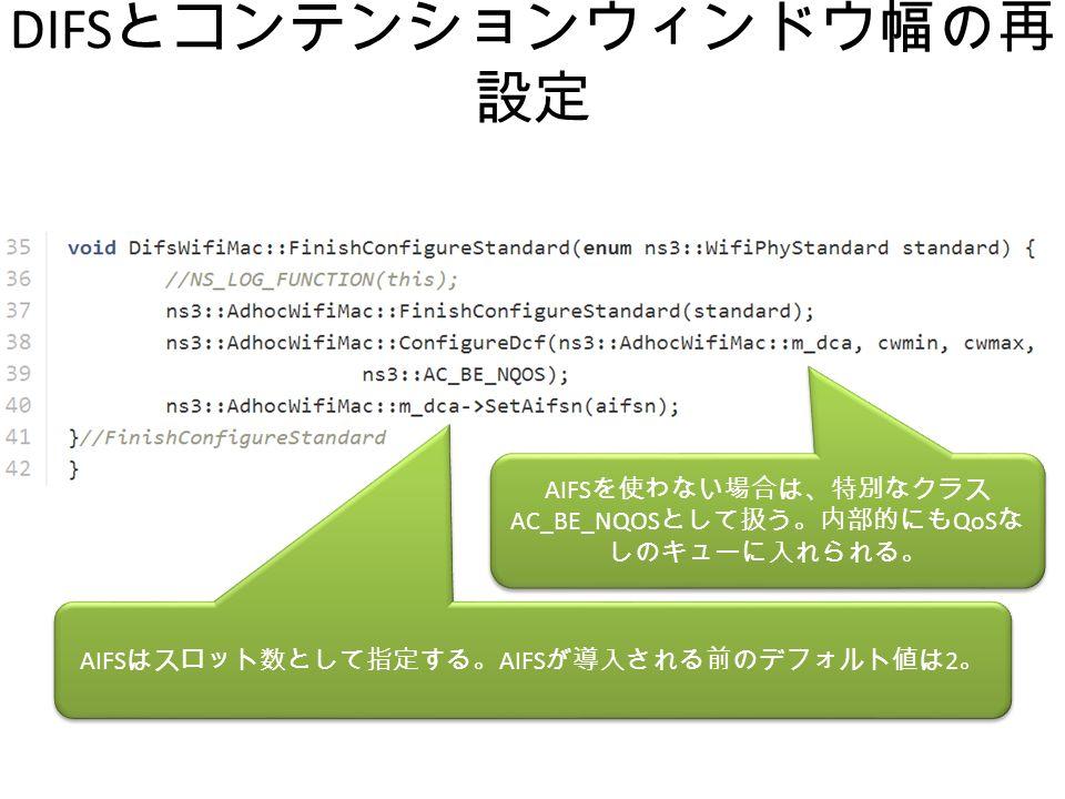 DIFS とコンテンションウィンドウ幅の再 設定 AIFS を使わない場合は、特別なクラス AC_BE_NQOS として扱う。内部的にも QoS な しのキューに入れられる。 AIFS はスロット数として指定する。 AIFS が導入される前のデフォルト値は 2 。