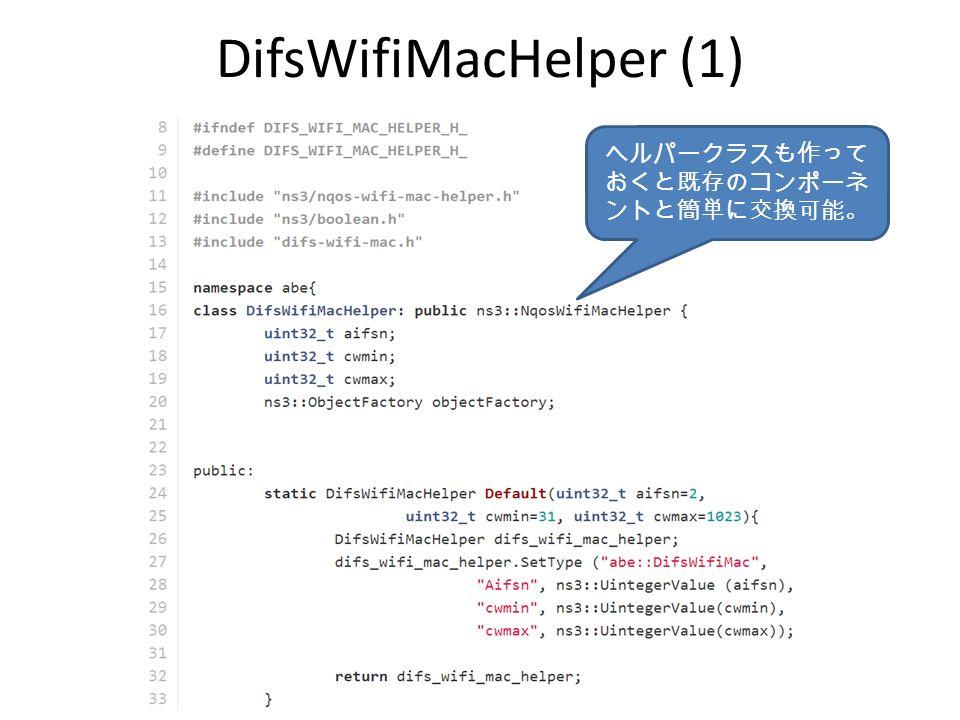DifsWifiMacHelper (1) ヘルパークラスも作って おくと既存のコンポーネ ントと簡単に交換可能。