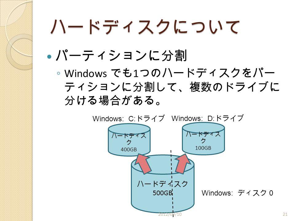 ハードディスクについて パーティションに分割 ◦ Windows でも 1 つのハードディスクをパー ティションに分割して、複数のドライブに 分ける場合がある。 ハードディスク 500GB ハードディス ク 400GB ハードディス ク 100GB Windows: C: ドライブ Windows: D: ドライブ Windows: ディスク 0 2012/09/1021
