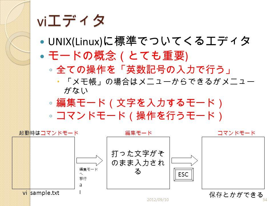 vi エディタ UNIX(Linux) に標準でついてくるエディタ モードの概念(とても重要 ) ◦ 全ての操作を「英数記号の入力で行う」  「メモ帳」の場合はメニューからできるがメニュー がない ◦ 編集モード(文字を入力するモード) ◦ コマンドモード(操作を行うモード) vi sample.txt 起動時はコマンドモード 打った文字がそ のまま入力され る 編集モードコマンドモード 編集モード へ 移行 a I ESC 保存とかができる 2012/09/1034