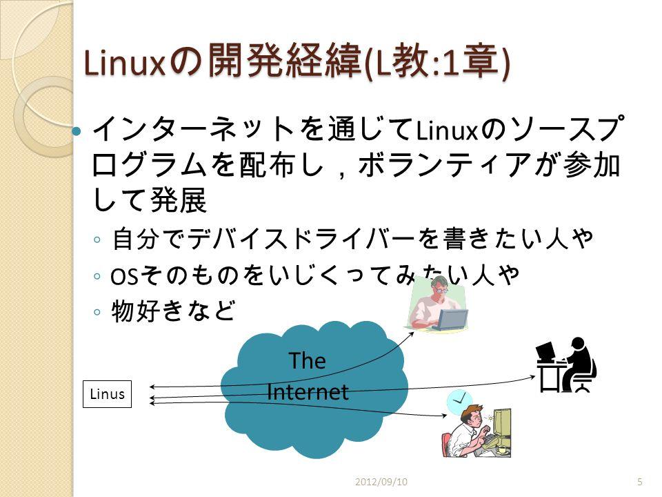 Linux の開発経緯 (L 教 :1 章 ) インターネットを通じて Linux のソースプ ログラムを配布し,ボランティアが参加 して発展 ◦ 自分でデバイスドライバーを書きたい人や ◦ OS そのものをいじくってみたい人や ◦ 物好きなど Linus The Internet 2012/09/105