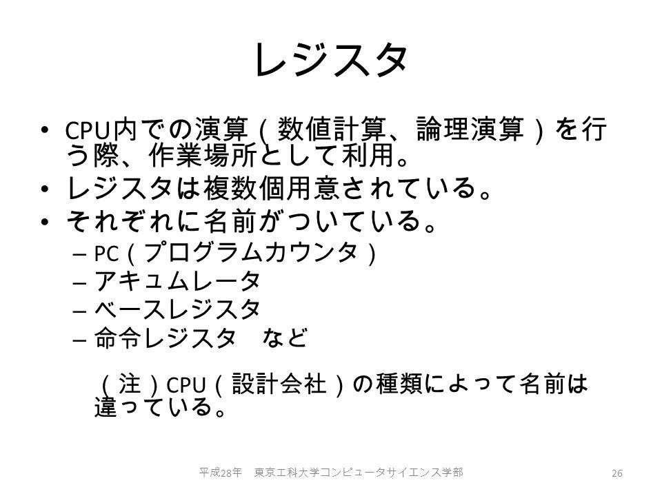 レジスタ CPU 内での演算(数値計算、論理演算)を行 う際、作業場所として利用。 レジスタは複数個用意されている。 それぞれに名前がついている。 – PC (プログラムカウンタ) – アキュムレータ – ベースレジスタ – 命令レジスタ など (注) CPU (設計会社)の種類によって名前は 違っている。 平成 28 年 東京工科大学コンピュータサイエンス学部 26