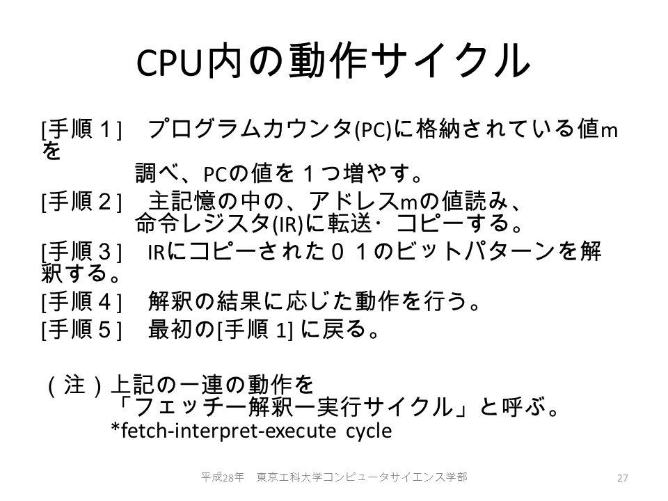 CPU 内の動作サイクル [ 手順1 ] プログラムカウンタ (PC) に格納されている値 m を 調べ、 PC の値を1つ増やす。 [ 手順2 ] 主記憶の中の、アドレス m の値読み、 命令レジスタ (IR) に転送・コピーする。 [ 手順3 ] IR にコピーされた01のビットパターンを解 釈する。 [ 手順4 ] 解釈の結果に応じた動作を行う。 [ 手順5 ] 最初の [ 手順 1] に戻る。 (注)上記の一連の動作を 「フェッチー解釈ー実行サイクル」と呼ぶ。 *fetch-interpret-execute cycle 平成 28 年 東京工科大学コンピュータサイエンス学部 27