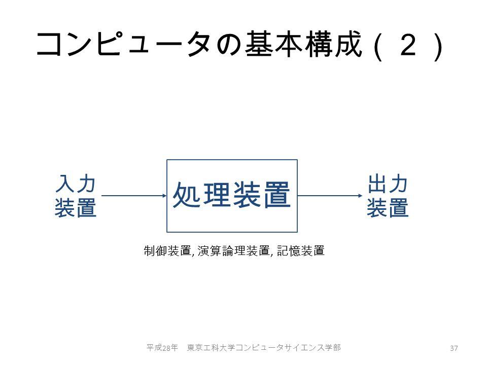 コンピュータの基本構成(2) 平成 28 年 東京工科大学コンピュータサイエンス学部 37 処理装置 入力 装置 出力 装置 制御装置, 演算論理装置, 記憶装置