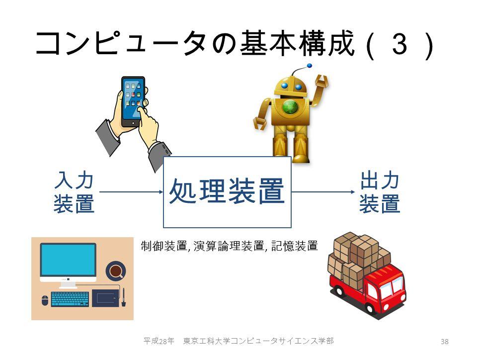 コンピュータの基本構成(3) 平成 28 年 東京工科大学コンピュータサイエンス学部 38 入力 装置 出力 装置 制御装置, 演算論理装置, 記憶装置 処理装置