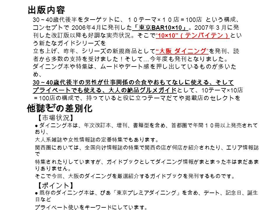 30 ~ 40 歳代後半をターゲットに、10テーマ × 10店= 100 店 という構成、 コンセプトで 2006 年 4 月に発刊した「東京 BAR10×10 」。 2007 年3月に発 刊した改訂版以降も好調な実売状況。そこで 10×10 (テンバイテン)とい う新たなガイドシリーズを 立ち上げ、昨年、シリーズの新規商品として 大阪 ダイニング を発刊、読 者から多数の支持を受けました!そして … 今年度も発刊となりました。 ダイニング本や特集は、ムードやデート感を押し出しているものが多いた め、 30 ~ 40 歳代後半の男性が仕事関係の会食やおもてなしに使える、そして プライベートでも使える、大人の絶品グルメガイドとして、 10 テーマ ×10 店 = 100 店の構成で、持っていると役に立つテーマだてや掲載店のセレクトを 行います。 出版内容 他誌との差別化 【市場状況】 ● ダイニング本は、年次改訂本、増刊、書籍型を含め、首都圏で年間10冊以上発売されて おり、 大人系雑誌や女性情報誌の定番特集でもあります。 関西圏においては、全国向け情報誌の特集で関西の店が何店か紹介されたり、エリア情報誌 で 特集されたりしていますが、ガイドブックとしてダイニング情報がまとまった本はまだあま りありません。 そこで今回、大阪のダイニングを厳選紹介するガイドブックを発刊するものです。 【ポイント】 ● 既存のダイニング本は、ぴあ「東京プレミアダイニング」を含め、デート、記念日、誕生 日など プライベート使いをキーワードにしています。 「大阪ダイニング 10×10 」では、ビジネス使いをキーワードに、プライベートでも使える内 容構成に。持っていると役立つことをアピールした表紙、表紙ネーム、テーマ設定、掲載店 セレクトを行います。
