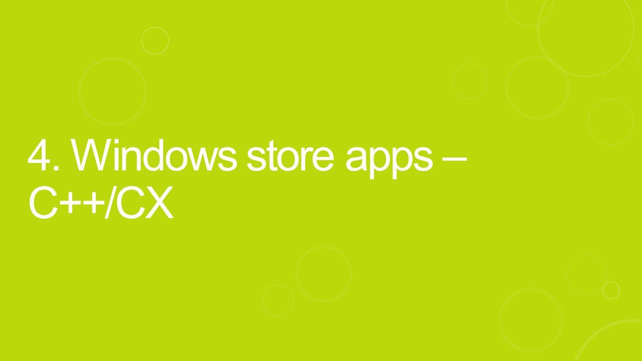 4. Windows store apps – C++/CX