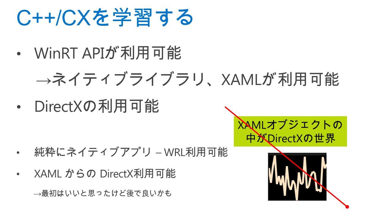 C++/CX を学習する WinRT API が利用可能 → ネイティブライブラリ、 XAML が利用可能 DirectX の利用可能 純粋にネイティブアプリ – WRL 利用可能 XAML からの DirectX 利用可能 → 最初はいいと思ったけど後で良いかも XAML オブジェクトの 中が DirectX の世界