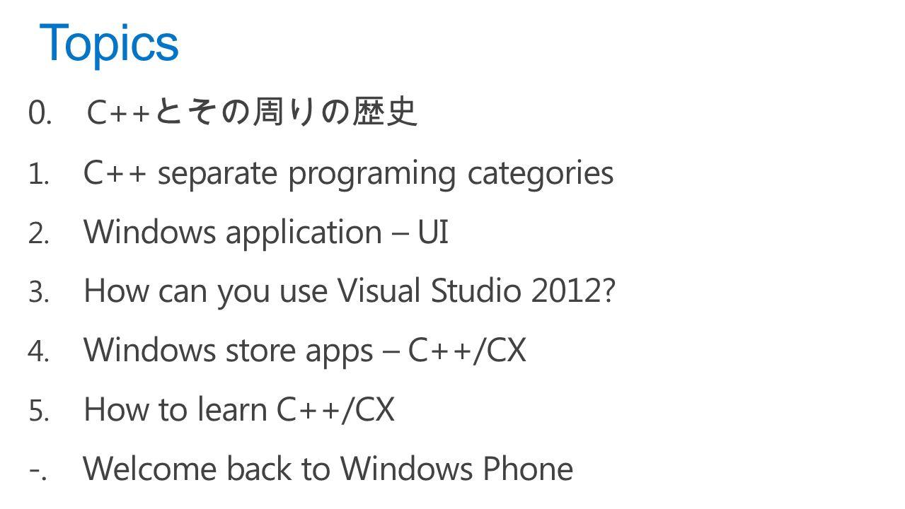 0. C++ とその周りの歴史 1. C++ separate programing categories 2.
