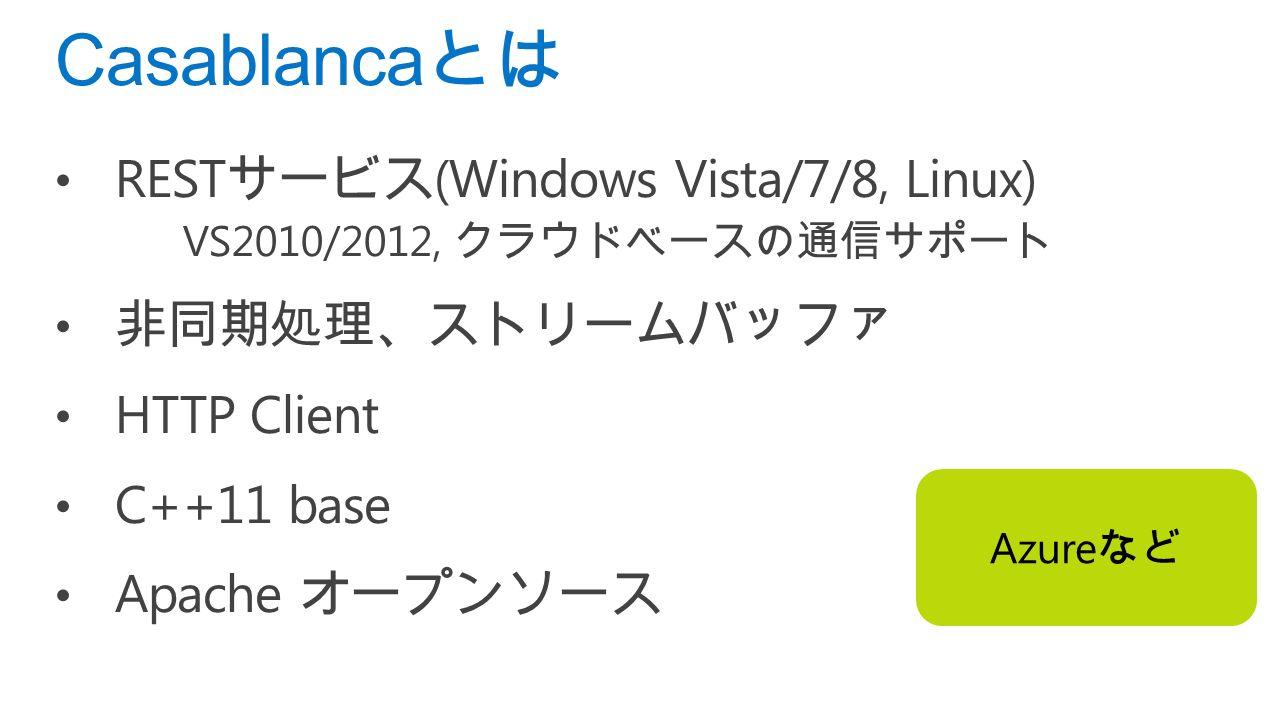 REST サービス (Windows Vista/7/8, Linux) VS2010/2012, クラウドベースの通信サポート 非同期処理、ストリームバッファ HTTP Client C++11 base Apache オープンソース Casablanca とは Azure など