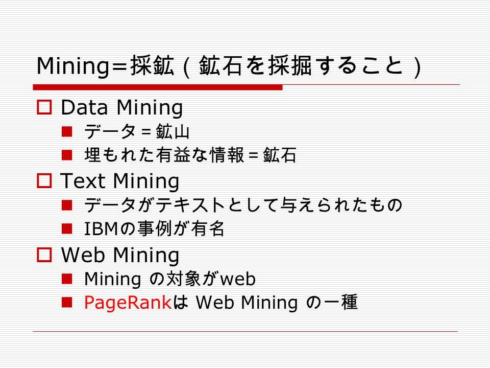 Mining= 採鉱(鉱石を採掘すること)  Data Mining データ=鉱山 埋もれた有益な情報=鉱石  Text Mining データがテキストとして与えられたもの IBM の事例が有名  Web Mining Mining の対象が web PageRank は Web Mining の一種
