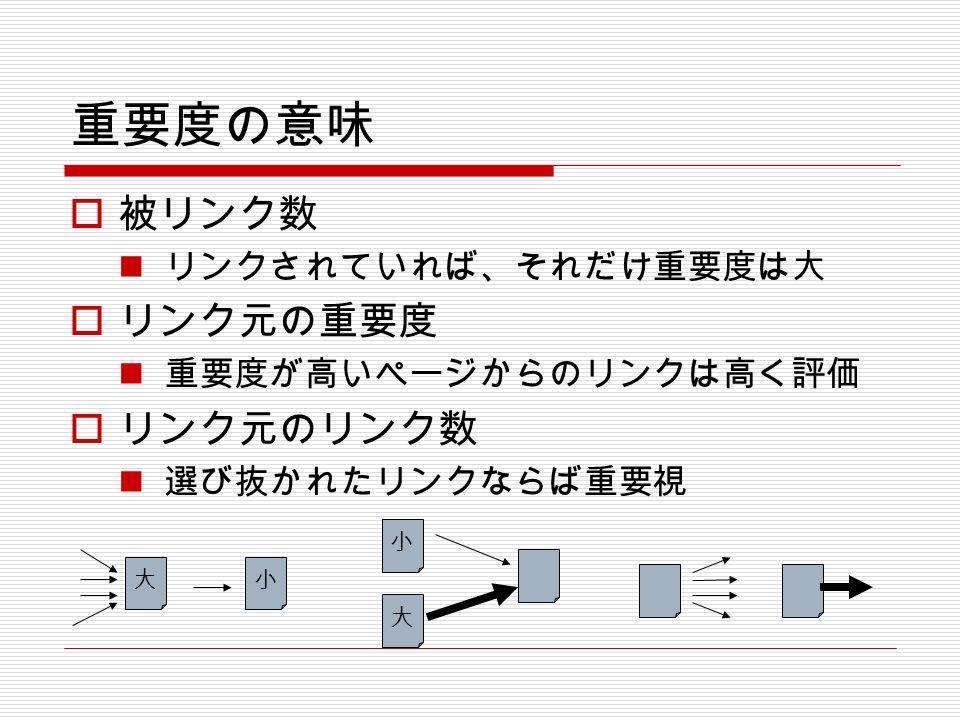 重要度の意味  被リンク数 リンクされていれば、それだけ重要度は大  リンク元の重要度 重要度が高いページからのリンクは高く評価  リンク元のリンク数 選び抜かれたリンクならば重要視 大 小 大小
