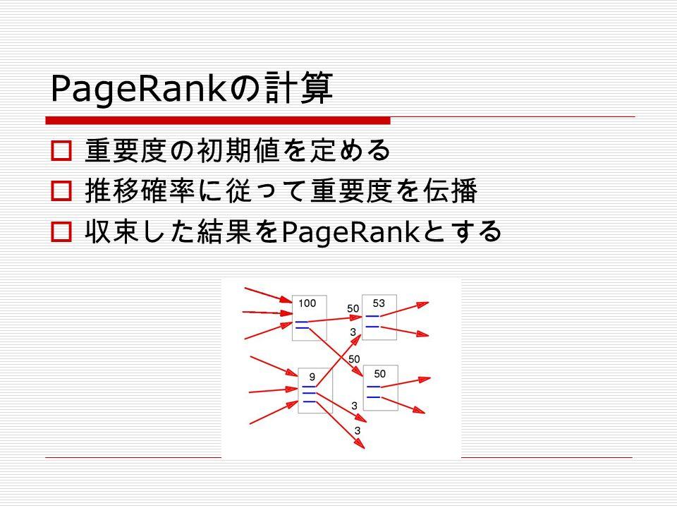 PageRank の計算  重要度の初期値を定める  推移確率に従って重要度を伝播  収束した結果を PageRank とする