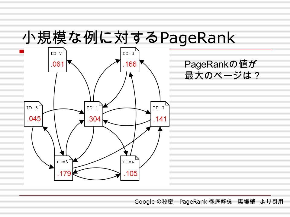 小規模な例に対する PageRank.304.179.166.141.105.061.045 PageRank の値が 最大のページは? Google の秘密 - PageRank 徹底解説 馬場肇 より引用