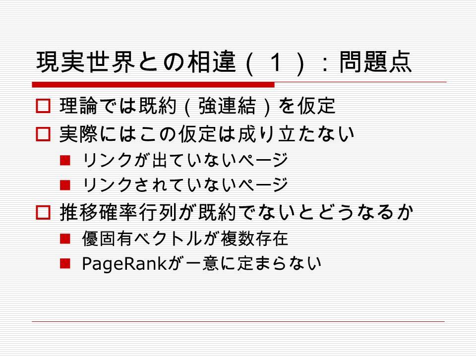 現実世界との相違(1):問題点  理論では既約(強連結)を仮定  実際にはこの仮定は成り立たない リンクが出ていないページ リンクされていないページ  推移確率行列が既約でないとどうなるか 優固有ベクトルが複数存在 PageRank が一意に定まらない