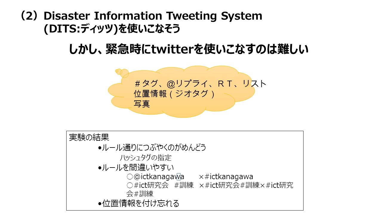 #タグ、@リプライ、RT、リスト 位置情報(ジオタグ) 写真 しかし、緊急時にtwitterを使いこなすのは難しい 実験の結果 ルール通りにつぶやくのがめんどう ハッシュタグの指定 ルールを間違いやすい ○@ictkanagawa ×#ictkanagawa ○#ict研究会 #訓練 ×#ict研究会#訓練×#ict研究 会#訓練 位置情報を付け忘れる (2)Disaster Information Tweeting System (DITS:ディッツ)を使いこなそう