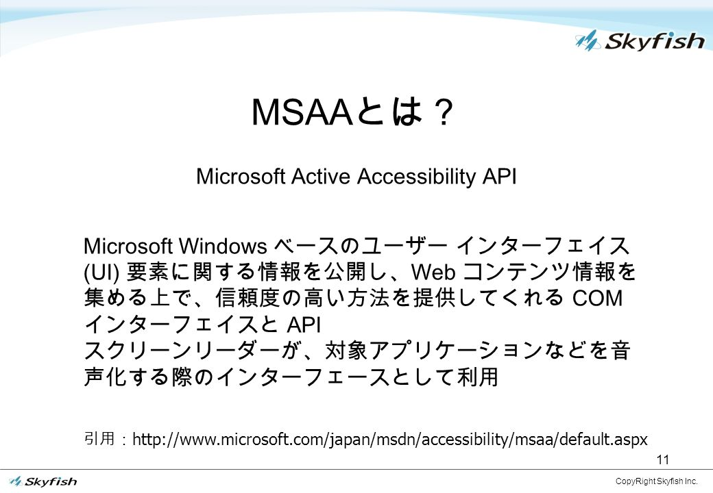 11 MSAA とは? CopyRight Skyfish Inc.