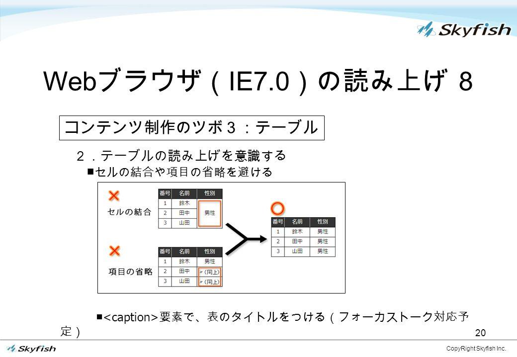 2.テーブルの読み上げを意識する ■ セルの結合や項目の省略を避ける ■ 要素で、表のタイトルをつける(フォーカストーク対応予 定) Web ブラウザ( IE7.0 )の読み上げ 8 CopyRight Skyfish Inc.