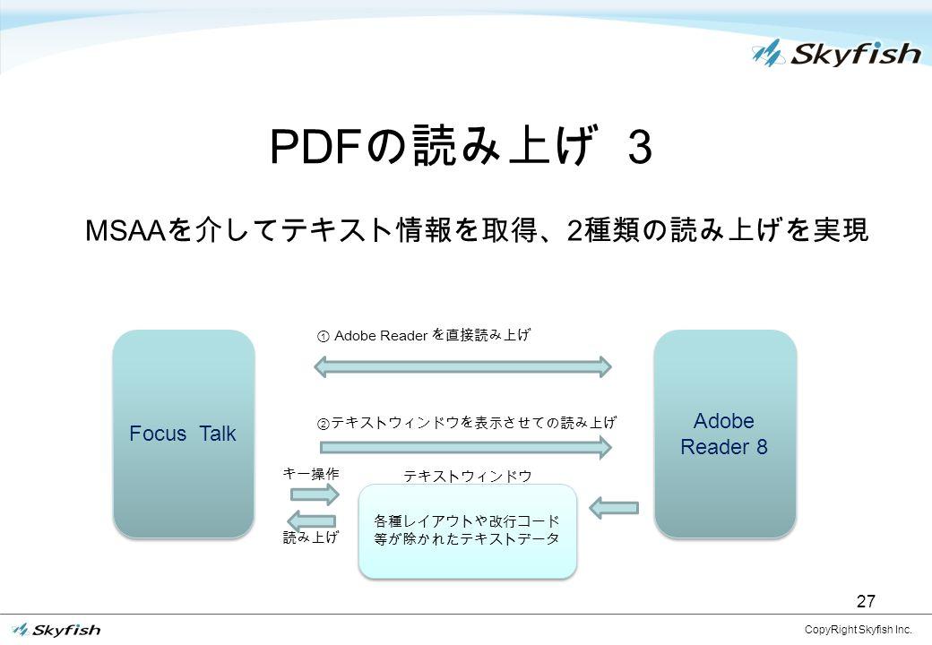 各種レイアウトや改行コード 等が除かれたテキストデータ 27 PDF の読み上げ 3 CopyRight Skyfish Inc.