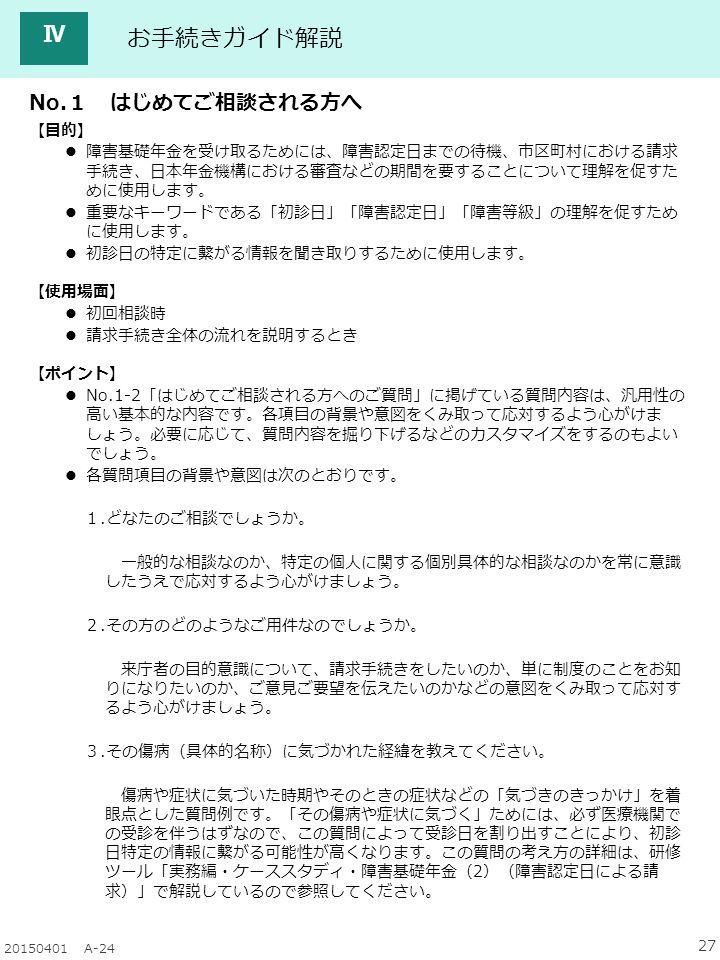 27 20150401 A-24 Ⅳ 【目的】 障害基礎年金を受け取るためには、障害認定日までの待機、市区町村における請求 手続き、日本年金機構における審査などの期間を要することについて理解を促すた めに使用します。 重要なキーワードである「初診日」「障害認定日」「障害等級」の理解を促すため に使用します。 初診日の特定に繋がる情報を聞き取りするために使用します。 【使用場面】 初回相談時 請求手続き全体の流れを説明するとき 【ポイント】 No.1-2「はじめてご相談される方へのご質問」に掲げている質問内容は、汎用性の 高い基本的な内容です。各項目の背景や意図をくみ取って応対するよう心がけま しょう。必要に応じて、質問内容を掘り下げるなどのカスタマイズをするのもよい でしょう。 各質問項目の背景や意図は次のとおりです。 1.どなたのご相談でしょうか。 一般的な相談なのか、特定の個人に関する個別具体的な相談なのかを常に意識 したうえで応対するよう心がけましょう。 2.その方のどのようなご用件なのでしょうか。 来庁者の目的意識について、請求手続きをしたいのか、単に制度のことをお知 りになりたいのか、ご意見ご要望を伝えたいのかなどの意図をくみ取って応対す るよう心がけましょう。 3.その傷病(具体的名称)に気づかれた経緯を教えてください。 傷病や症状に気づいた時期やそのときの症状などの「気づきのきっかけ」を着 眼点とした質問例です。「その傷病や症状に気づく」ためには、必ず医療機関で の受診を伴うはずなので、この質問によって受診日を割り出すことにより、初診 日特定の情報に繋がる可能性が高くなります。この質問の考え方の詳細は、研修 ツール「実務編・ケーススタディ・障害基礎年金(2)(障害認定日による請 求)」で解説しているので参照してください。 お手続きガイド解説 No.1 はじめてご相談される方へ