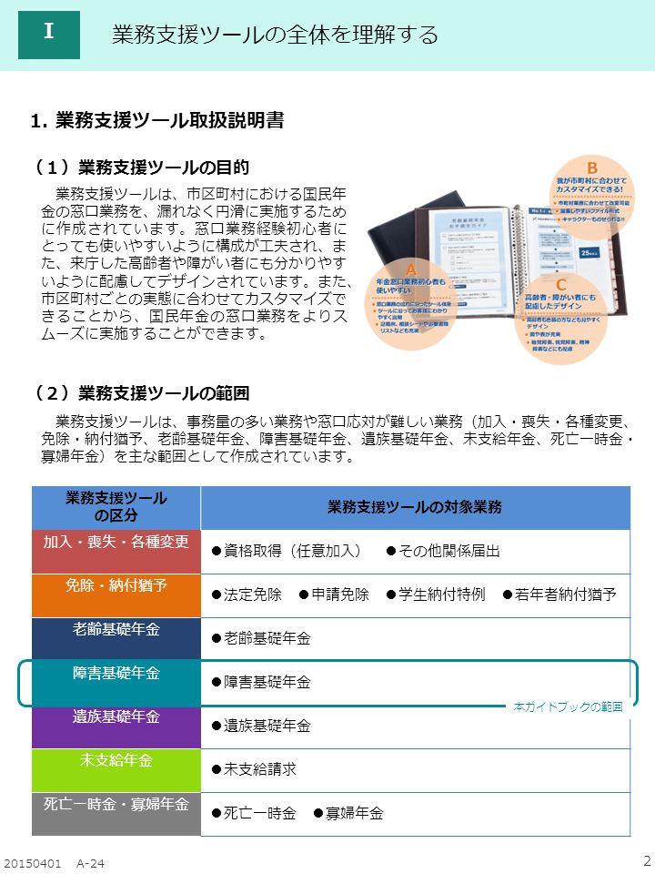 2 20150401 A-24 Ⅰ 業務支援ツールの全体を理解する 1.