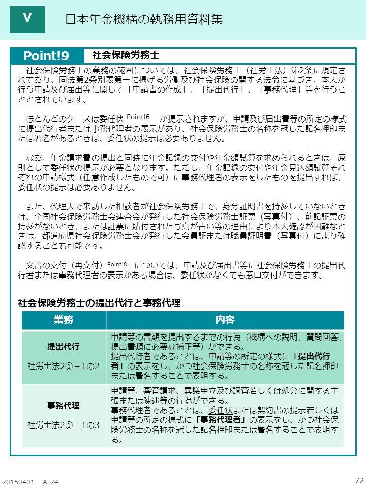 72 20150401 A-24 日本年金機構の執務用資料集 社会保険労務士の業務の範囲については、社会保険労務士(社労士法)第2条に規定さ れており、同法第2条別表第一に掲げる労働及び社会保険の関する法令に基づき、本人が 行う申請及び届出等に関して「申請書の作成」、「提出代行」、「事務代理」等を行うこ ととされています。 ほとんどのケースは委任状 が提示されますが、申請及び届出書等の所定の様式 に提出代行者または事務代理者の表示があり、社会保険労務士の名称を冠した記名押印ま たは署名があるときは、委任状の提示は必要ありません。 なお、年金請求書の提出と同時に年金記録の交付や年金額試算を求められるときは、原 則として委任状の提示が必要となります。ただし、年金記録の交付や年金見込額試算それ ぞれの申請様式(任意作成したもので可)に事務代理者の表示をしたものを提出すれば、 委任状の提示は必要ありません。 また、代理人で来訪した相談者が社会保険労務士で、身分証明書を持参していないとき は、全国社会保険労務士会連合会が発行した社会保険労務士証票(写真付)、前記証票の 持参がないとき、または証票に貼付された写真が古い等の理由により本人確認が困難なと きは、都道府県社会保険労務士会が発行した会員証または職員証明書(写真付)により確 認することも可能です。 文書の交付(再交付) については、申請及び届出書等に社会保険労務士の提出代 行者または事務代理者の表示がある場合は、委任状がなくても窓口交付ができます。 Point!6 Point!8 Point!9 社会保険労務士 業務内容 提出代行 社労士法2①-1の2 申請等の書類を提出するまでの行為(機構への説明、質問回答、 提出書類に必要な補正等)ができる。 提出代行者であることは、申請等の所定の様式に「提出代行 者」の表示をし、かつ社会保険労務士の名称を冠した記名押印 または署名することで表明する。 事務代理 社労士法2①-1の3 申請等、審査請求、異議申立及び調査若しくは処分に関する主 張または陳述等の行為ができる。 事務代理者であることは、委任状または契約書の提示若しくは 申請等の所定の様式に「事務代理者」の表示をし、かつ社会保 険労務士の名称を冠した記名押印または署名することで表明す る。 社会保険労務士の提出代行と事務代理 Ⅴ