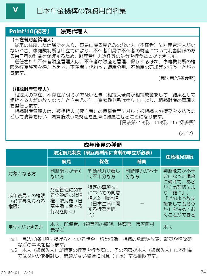 74 20150401 A-24 日本年金機構の執務用資料集 (不在者財産管理人) 従来の住所または居所を去り、容易に戻る見込みのない人(不在者)に財産管理人がい ないとき、家庭裁判所は申立てにより、不在者自身や不在者の財産について利害関係のあ る第三者の利益を保護するため、財産管理人選任等の処分を行うことができます。 選任された不在者財産管理人は、不在者の財産を管理、保存するほか、家庭裁判所の権 限外行為許可を得たうえで、不在者に代わって遺産分割、不動産の売却等を行うことがで きます。 [民法第25条参照] (相続財産管理人) 相続人の存在、不存在が明らかでないとき(相続人全員が相続放棄をして、結果として 相続する人がいなくなったときも含む)、家庭裁判所は申立てにより、相続財産の管理人 を選任します。 相続財産管理人は、被相続人(死亡者)の債権者等に対して被相続人の債務を支払うな どして清算を行い、清算後残った財産を国庫に帰属させることになります。 [民法第918条、943条、952条参照] (2/2) 成年後見の種類 ※1 民法13条1項に掲げられている借金、訴訟行為、相続の承認や放棄、新築や増改築 などの事項を指します。 ※2 本人(被保佐人)が特定の行為を行う際に、その内容が本人(被保佐人)に不利益 ではないかを検討し、問題がない場合に同意(了承)する権限です。 法定後見制度(家庭裁判所に審判の申立が必要) 任意後見制度 後見保佐補助 対象となる方 判断能力が全く ない方 判断能力が著し く不十分な方 判断能力が不十 分な方 判断能力が不十 分になった場合 に備えて、あら かじめ契約によ り「誰に」、 「どのような支 援をしてもらう か」を決めてお くことができる 成年後見人の権限 (必ず与えられる 権限) 財産管理に関す る全般的な代理 権、取消権(日 常生活に関する 行為を除く) 特定の事項※1 についての同意 権※2、取消権 (日常生活に関 する行為を除 く) ー 申立てができる方 本人、配偶者、4親等内の親族、検察官、市区町村 長など 本人 Point!10(続き)法定代理人 Ⅴ
