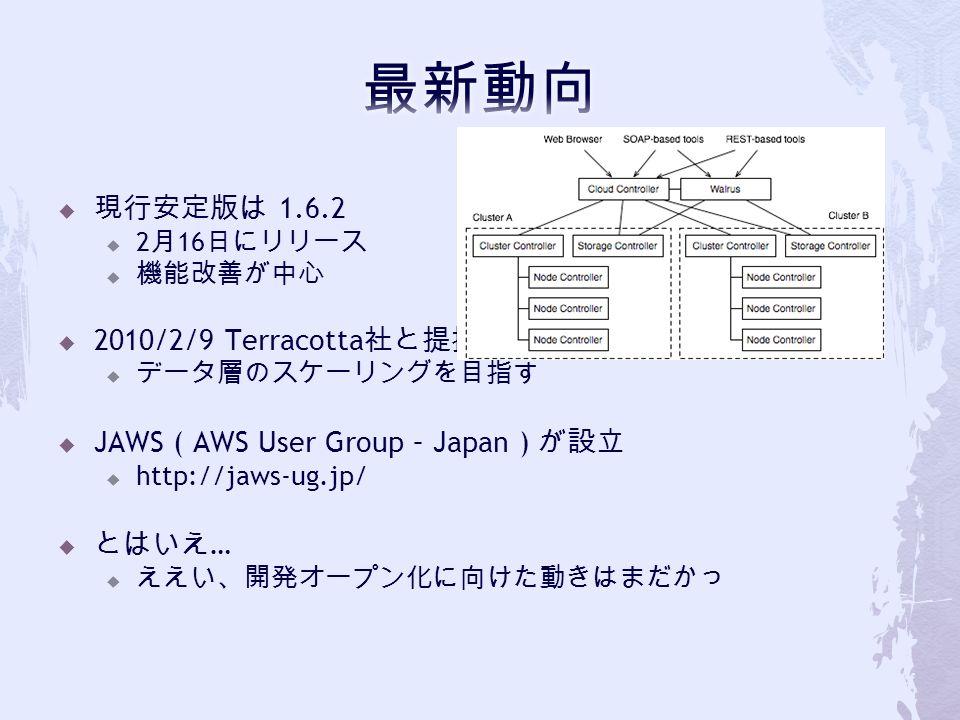  現行安定版は 1.6.2  2 月 16 日にリリース  機能改善が中心  2010/2/9 Terracotta 社と提携  データ層のスケーリングを目指す  JAWS ( AWS User Group – Japan ) が設立  http://jaws-ug.jp/  とはいえ …  ええい、開発オープン化に向けた動きはまだかっ