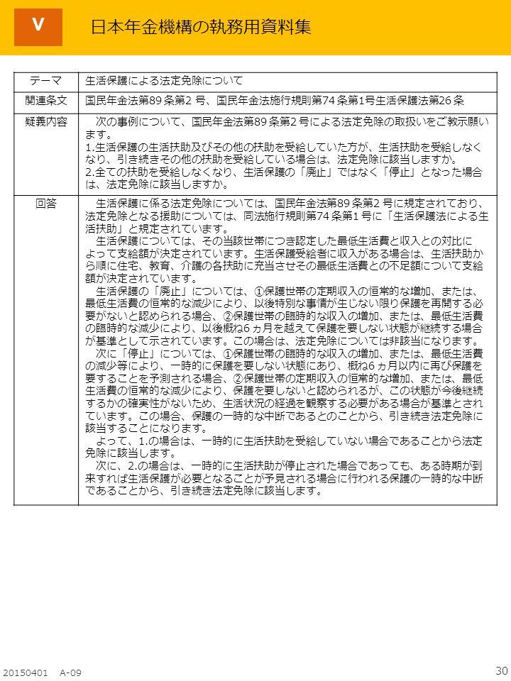 30 20150401 A-09 Ⅴ テーマ生活保護による法定免除について 関連条文国民年金法第89 条第2 号、国民年金法施行規則第74 条第1号生活保護法第26 条 疑義内容 次の事例について、国民年金法第89 条第2 号による法定免除の取扱いをご教示願い ます。 1.生活保護の生活扶助及びその他の扶助を受給していた方が、生活扶助を受給しなく なり、引き続きその他の扶助を受給している場合は、法定免除に該当しますか。 2.全ての扶助を受給しなくなり、生活保護の「廃止」ではなく「停止」となった場合 は、法定免除に該当しますか。 回答 生活保護に係る法定免除については、国民年金法第89 条第2 号に規定されており、 法定免除となる援助については、同法施行規則第74 条第1 号に「生活保護法による生 活扶助」と規定されています。 生活保護については、その当該世帯につき認定した最低生活費と収入との対比に よって支給額が決定されています。生活保護受給者に収入がある場合は、生活扶助か ら順に住宅、教育、介護の各扶助に充当させその最低生活費との不足額について支給 額が決定されています。 生活保護の「廃止」については、①保護世帯の定期収入の恒常的な増加、または、 最低生活費の恒常的な減少により、以後特別な事情が生じない限り保護を再開する必 要がないと認められる場合、②保護世帯の臨時的な収入の増加、または、最低生活費 の臨時的な減少により、以後概ね6 ヵ月を越えて保護を要しない状態が継続する場合 が基準として示されています。この場合は、法定免除については非該当になります。 次に「停止」については、①保護世帯の臨時的な収入の増加、または、最低生活費 の減少等により、一時的に保護を要しない状態にあり、概ね6 ヵ月以内に再び保護を 要することを予測される場合、②保護世帯の定期収入の恒常的な増加、または、最低 生活費の恒常的な減少により、保護を要しないと認められるが、この状態が今後継続 するかの確実性がないため、生活状況の経過を観察する必要がある場合が基準とされ ています。この場合、保護の一時的な中断であるとのことから、引き続き法定免除に 該当することになります。 よって、1.の場合は、一時的に生活扶助を受給していない場合であることから法定 免除に該当します。 次に、2.の場合は、一時的に生活扶助が停止された場合であっても、ある時期が到 来すれば生活保護が必要となることが予見される場合に行われる保護の一時的な中断 であることから、引き続き法定免除に該当します。 日本年金機構の執務用資料集