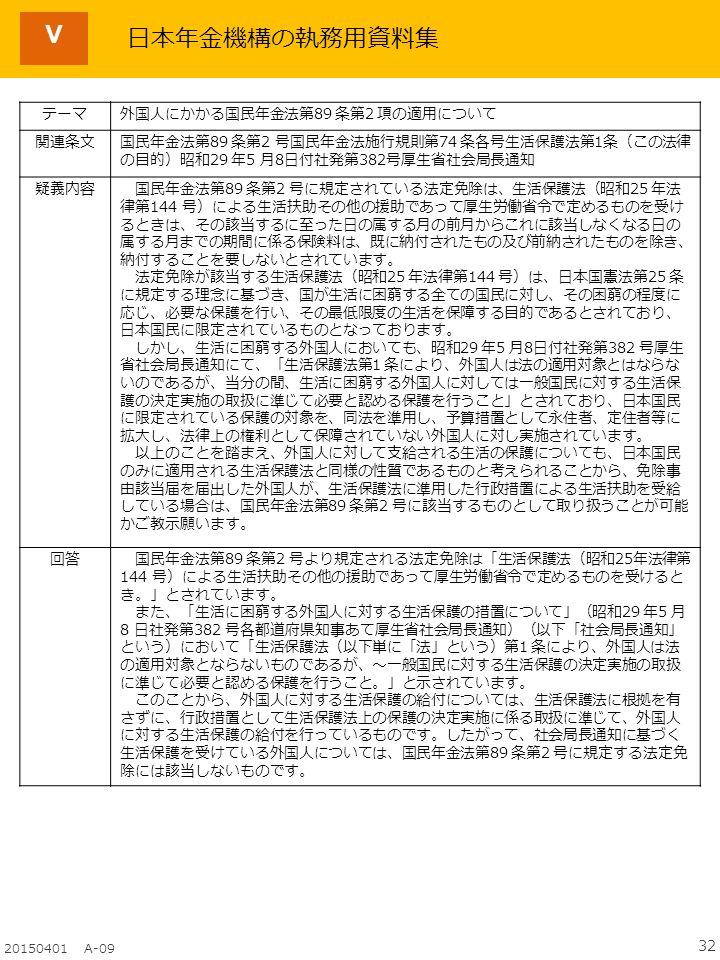 32 20150401 A-09 Ⅴ テーマ外国人にかかる国民年金法第89 条第2 項の適用について 関連条文国民年金法第89 条第2 号国民年金法施行規則第74 条各号生活保護法第1条(この法律 の目的)昭和29 年5 月8日付社発第382号厚生省社会局長通知 疑義内容 国民年金法第89 条第2 号に規定されている法定免除は、生活保護法(昭和25 年法 律第144 号)による生活扶助その他の援助であって厚生労働省令で定めるものを受け るときは、その該当するに至った日の属する月の前月からこれに該当しなくなる日の 属する月までの期間に係る保険料は、既に納付されたもの及び前納されたものを除き、 納付することを要しないとされています。 法定免除が該当する生活保護法(昭和25 年法律第144 号)は、日本国憲法第25 条 に規定する理念に基づき、国が生活に困窮する全ての国民に対し、その困窮の程度に 応じ、必要な保護を行い、その最低限度の生活を保障する目的であるとされており、 日本国民に限定されているものとなっております。 しかし、生活に困窮する外国人においても、昭和29 年5 月8日付社発第382 号厚生 省社会局長通知にて、「生活保護法第1 条により、外国人は法の適用対象とはならな いのであるが、当分の間、生活に困窮する外国人に対しては一般国民に対する生活保 護の決定実施の取扱に準じて必要と認める保護を行うこと」とされており、日本国民 に限定されている保護の対象を、同法を準用し、予算措置として永住者、定住者等に 拡大し、法律上の権利として保障されていない外国人に対し実施されています。 以上のことを踏まえ、外国人に対して支給される生活の保護についても、日本国民 のみに適用される生活保護法と同様の性質であるものと考えられることから、免除事 由該当届を届出した外国人が、生活保護法に準用した行政措置による生活扶助を受給 している場合は、国民年金法第89 条第2 号に該当するものとして取り扱うことが可能 かご教示願います。 回答 国民年金法第89 条第2 号より規定される法定免除は「生活保護法(昭和25年法律第 144 号)による生活扶助その他の援助であって厚生労働省令で定めるものを受けると き。」とされています。 また、「生活に困窮する外国人に対する生活保護の措置について」(昭和29 年5 月 8 日社発第382 号各都道府県知事あて厚生省社会局長通知)(以下「社会局長通知」 という)において「生活保護法(以下単に「法」という)第1 条により、外国人は法 の適用対象とならないものであるが、~一般国民に対する生活保護の決定実施の取扱 に準じて必要と認める保護を行うこと。」と示されています。 このことから、外国人に対する生活保護の給付については、生活保護法に根拠を有 さずに、行政措置として生活保護法上の保護の決定実施に係る取扱に準じて、外国人 に対する生活保護の給付を行っているものです。したがって、社会局長通知に基づく 生活保護を受けている外国人については、国民年金法第89 条第2 号に規定する法定免 除には該当しないものです。 日本年金機構の執務用資料集