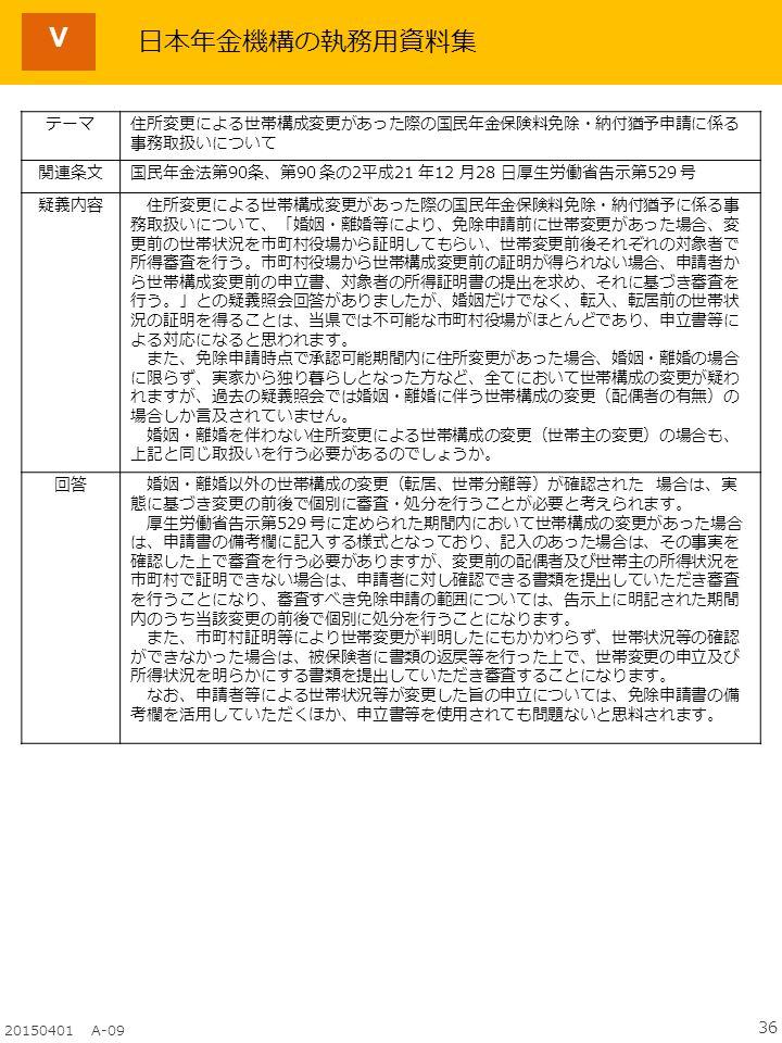 36 20150401 A-09 Ⅴ テーマ住所変更による世帯構成変更があった際の国民年金保険料免除・納付猶予申請に係る 事務取扱いについて 関連条文国民年金法第90条、第90 条の2平成21 年12 月28 日厚生労働省告示第529 号 疑義内容 住所変更による世帯構成変更があった際の国民年金保険料免除・納付猶予に係る事 務取扱いについて、「婚姻・離婚等により、免除申請前に世帯変更があった場合、変 更前の世帯状況を市町村役場から証明してもらい、世帯変更前後それぞれの対象者で 所得審査を行う。市町村役場から世帯構成変更前の証明が得られない場合、申請者か ら世帯構成変更前の申立書、対象者の所得証明書の提出を求め、それに基づき審査を 行う。」との疑義照会回答がありましたが、婚姻だけでなく、転入、転居前の世帯状 況の証明を得ることは、当県では不可能な市町村役場がほとんどであり、申立書等に よる対応になると思われます。 また、免除申請時点で承認可能期間内に住所変更があった場合、婚姻・離婚の場合 に限らず、実家から独り暮らしとなった方など、全てにおいて世帯構成の変更が疑わ れますが、過去の疑義照会では婚姻・離婚に伴う世帯構成の変更(配偶者の有無)の 場合しか言及されていません。 婚姻・離婚を伴わない住所変更による世帯構成の変更(世帯主の変更)の場合も、 上記と同じ取扱いを行う必要があるのでしょうか。 回答 婚姻・離婚以外の世帯構成の変更(転居、世帯分離等)が確認された 場合は、実 態に基づき変更の前後で個別に審査・処分を行うことが必要と考えられます。 厚生労働省告示第529 号に定められた期間内において世帯構成の変更があった場合 は、申請書の備考欄に記入する様式となっており、記入のあった場合は、その事実を 確認した上で審査を行う必要がありますが、変更前の配偶者及び世帯主の所得状況を 市町村で証明できない場合は、申請者に対し確認できる書類を提出していただき審査 を行うことになり、審査すべき免除申請の範囲については、告示上に明記された期間 内のうち当該変更の前後で個別に処分を行うことになります。 また、市町村証明等により世帯変更が判明したにもかかわらず、世帯状況等の確認 ができなかった場合は、被保険者に書類の返戻等を行った上で、世帯変更の申立及び 所得状況を明らかにする書類を提出していただき審査することになります。 なお、申請者等による世帯状況等が変更した旨の申立については、免除申請書の備 考欄を活用していただくほか、申立書等を使用されても問題ないと思料されます。 日本年金機構の執務用資料集
