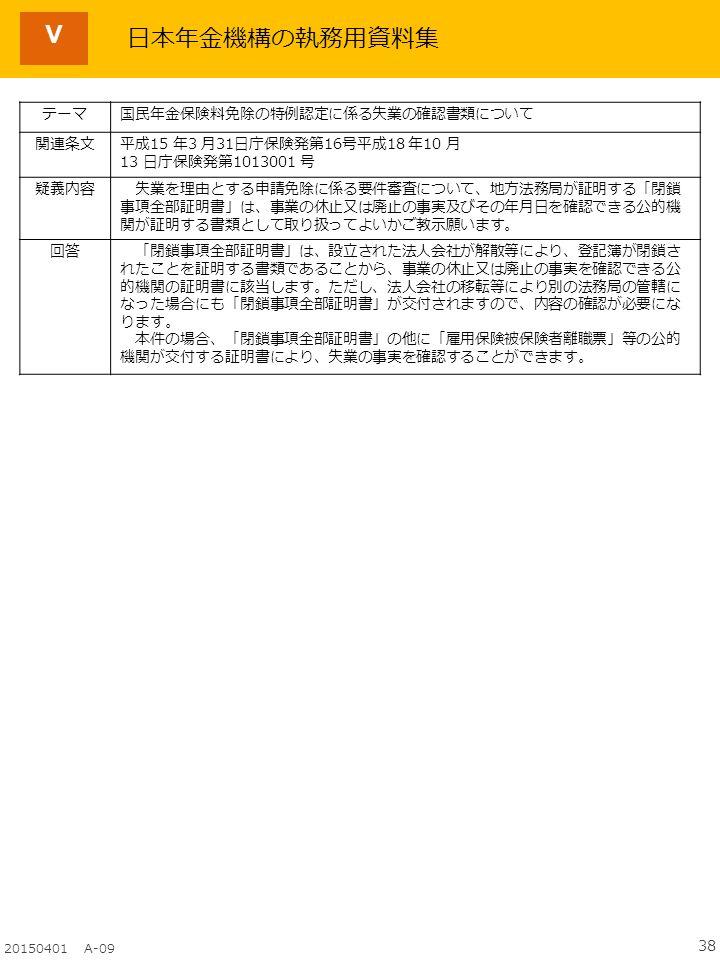 38 20150401 A-09 Ⅴ テーマ国民年金保険料免除の特例認定に係る失業の確認書類について 関連条文平成15 年3 月31日庁保険発第16号平成18 年10 月 13 日庁保険発第1013001 号 疑義内容 失業を理由とする申請免除に係る要件審査について、地方法務局が証明する「閉鎖 事項全部証明書」は、事業の休止又は廃止の事実及びその年月日を確認できる公的機 関が証明する書類として取り扱ってよいかご教示願います。 回答 「閉鎖事項全部証明書」は、設立された法人会社が解散等により、登記簿が閉鎖さ れたことを証明する書類であることから、事業の休止又は廃止の事実を確認できる公 的機関の証明書に該当します。ただし、法人会社の移転等により別の法務局の管轄に なった場合にも「閉鎖事項全部証明書」が交付されますので、内容の確認が必要にな ります。 本件の場合、「閉鎖事項全部証明書」の他に「雇用保険被保険者離職票」等の公的 機関が交付する証明書により、失業の事実を確認することができます。 日本年金機構の執務用資料集