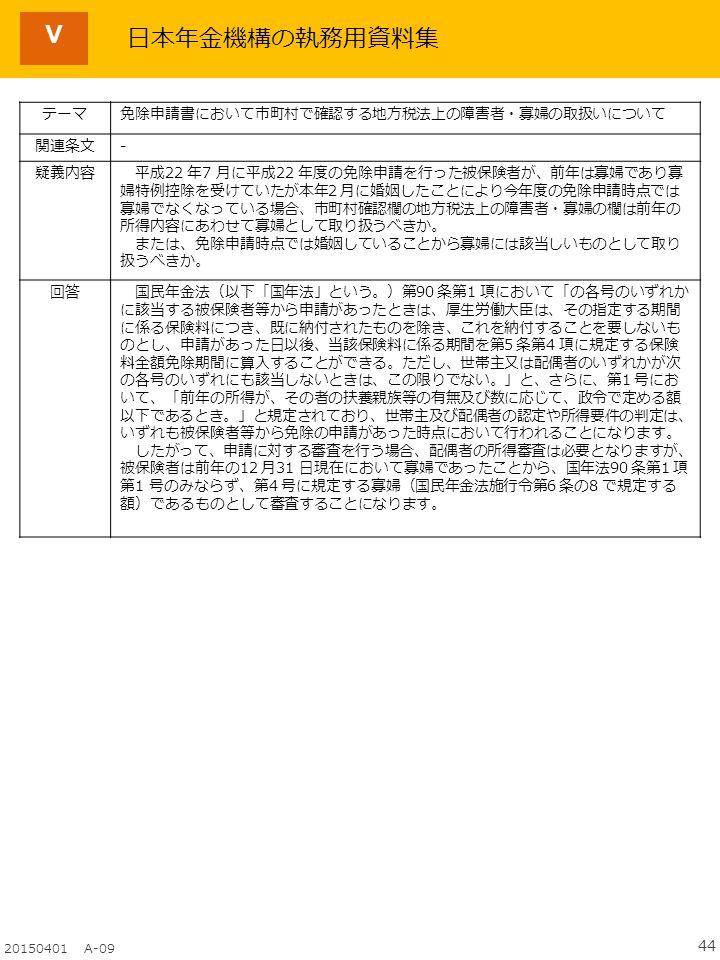 44 20150401 A-09 Ⅴ テーマ免除申請書において市町村で確認する地方税法上の障害者・寡婦の取扱いについて 関連条文- 疑義内容 平成22 年7 月に平成22 年度の免除申請を行った被保険者が、前年は寡婦であり寡 婦特例控除を受けていたが本年2 月に婚姻したことにより今年度の免除申請時点では 寡婦でなくなっている場合、市町村確認欄の地方税法上の障害者・寡婦の欄は前年の 所得内容にあわせて寡婦として取り扱うべきか。 または、免除申請時点では婚姻していることから寡婦には該当しいものとして取り 扱うべきか。 回答 国民年金法(以下「国年法」という。)第90 条第1 項において「の各号のいずれか に該当する被保険者等から申請があったときは、厚生労働大臣は、その指定する期間 に係る保険料につき、既に納付されたものを除き、これを納付することを要しないも のとし、申請があった日以後、当該保険料に係る期間を第5 条第4 項に規定する保険 料全額免除期間に算入することができる。ただし、世帯主又は配偶者のいずれかが次 の各号のいずれにも該当しないときは、この限りでない。」と、さらに、第1 号にお いて、「前年の所得が、その者の扶養親族等の有無及び数に応じて、政令で定める額 以下であるとき。」と規定されており、世帯主及び配偶者の認定や所得要件の判定は、 いずれも被保険者等から免除の申請があった時点において行われることになります。 したがって、申請に対する審査を行う場合、配偶者の所得審査は必要となりますが、 被保険者は前年の12 月31 日現在において寡婦であったことから、国年法90 条第1 項 第1 号のみならず、第4 号に規定する寡婦(国民年金法施行令第6 条の8 で規定する 額)であるものとして審査することになります。 日本年金機構の執務用資料集