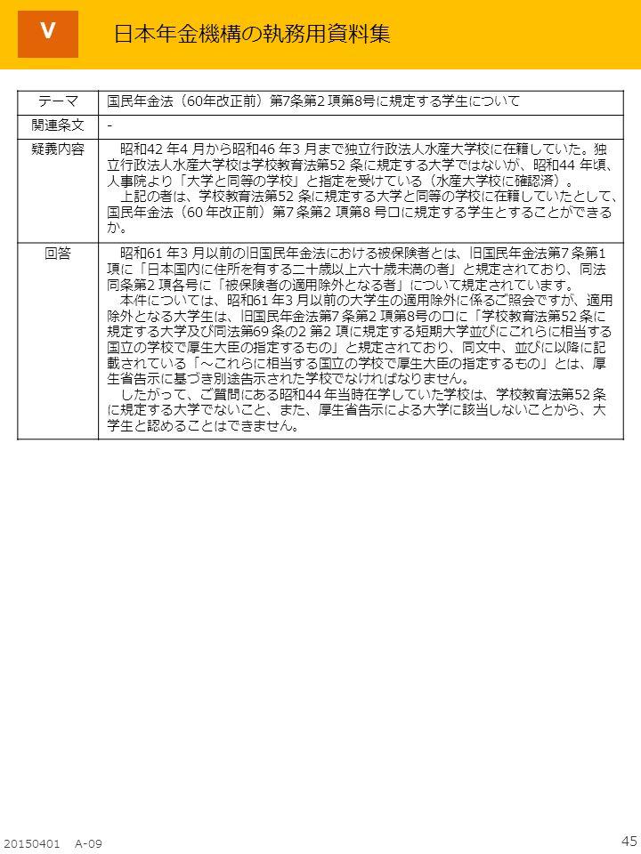 45 20150401 A-09 Ⅴ テーマ国民年金法(60年改正前)第7条第2 項第8号に規定する学生について 関連条文- 疑義内容 昭和42 年4 月から昭和46 年3 月まで独立行政法人水産大学校に在籍していた。独 立行政法人水産大学校は学校教育法第52 条に規定する大学ではないが、昭和44 年頃、 人事院より「大学と同等の学校」と指定を受けている(水産大学校に確認済)。 上記の者は、学校教育法第52 条に規定する大学と同等の学校に在籍していたとして、 国民年金法(60 年改正前)第7 条第2 項第8 号ロに規定する学生とすることができる か。 回答 昭和61 年3 月以前の旧国民年金法における被保険者とは、旧国民年金法第7 条第1 項に「日本国内に住所を有する二十歳以上六十歳未満の者」と規定されており、同法 同条第2 項各号に「被保険者の適用除外となる者」について規定されています。 本件については、昭和61 年3 月以前の大学生の適用除外に係るご照会ですが、適用 除外となる大学生は、旧国民年金法第7 条第2 項第8号のロに「学校教育法第52 条に 規定する大学及び同法第69 条の2 第2 項に規定する短期大学並びにこれらに相当する 国立の学校で厚生大臣の指定するもの」と規定されており、同文中、並びに以降に記 載されている「~これらに相当する国立の学校で厚生大臣の指定するもの」とは、厚 生省告示に基づき別途告示された学校でなければなりません。 したがって、ご質問にある昭和44 年当時在学していた学校は、学校教育法第52 条 に規定する大学でないこと、また、厚生省告示による大学に該当しないことから、大 学生と認めることはできません。 日本年金機構の執務用資料集