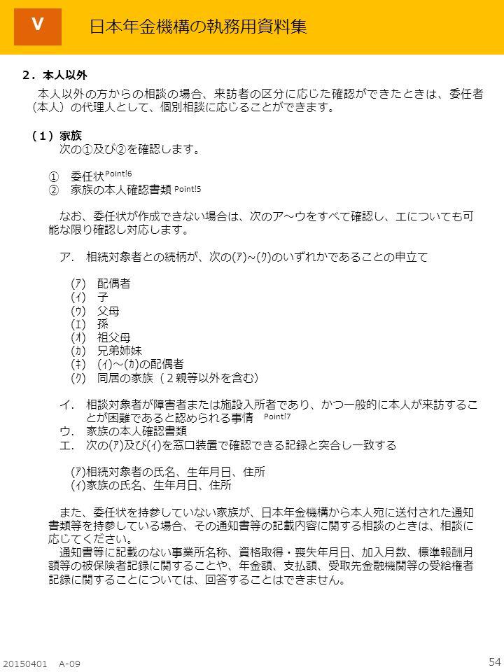 54 20150401 A-09 日本年金機構の執務用資料集 2.
