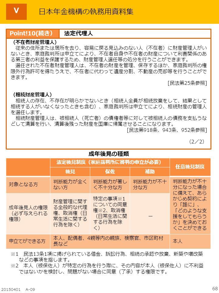68 20150401 A-09 日本年金機構の執務用資料集 (不在者財産管理人) 従来の住所または居所を去り、容易に戻る見込みのない人(不在者)に財産管理人がい ないとき、家庭裁判所は申立てにより、不在者自身や不在者の財産について利害関係のあ る第三者の利益を保護するため、財産管理人選任等の処分を行うことができます。 選任された不在者財産管理人は、不在者の財産を管理、保存するほか、家庭裁判所の権 限外行為許可を得たうえで、不在者に代わって遺産分割、不動産の売却等を行うことがで きます。 [民法第25条参照] (相続財産管理人) 相続人の存在、不存在が明らかでないとき(相続人全員が相続放棄をして、結果として 相続する人がいなくなったときも含む)、家庭裁判所は申立てにより、相続財産の管理人 を選任します。 相続財産管理人は、被相続人(死亡者)の債権者等に対して被相続人の債務を支払うな どして清算を行い、清算後残った財産を国庫に帰属させることになります。 [民法第918条、943条、952条参照] (2/2) 成年後見の種類 ※1 民法13条1項に掲げられている借金、訴訟行為、相続の承認や放棄、新築や増改築 などの事項を指します。 ※2 本人(被保佐人)が特定の行為を行う際に、その内容が本人(被保佐人)に不利益 ではないかを検討し、問題がない場合に同意(了承)する権限です。 法定後見制度(家庭裁判所に審判の申立が必要) 任意後見制度 後見保佐補助 対象となる方 判断能力が全く ない方 判断能力が著し く不十分な方 判断能力が不十 分な方 判断能力が不十 分になった場合 に備えて、あら かじめ契約によ り「誰に」、 「どのような支 援をしてもらう か」を決めてお くことができる 成年後見人の権限 (必ず与えられる 権限) 財産管理に関す る全般的な代理 権、取消権(日 常生活に関する 行為を除く) 特定の事項※1 についての同意 権※2、取消権 (日常生活に関 する行為を除 く) ー 申立てができる方 本人、配偶者、4親等内の親族、検察官、市区町村 長など 本人 Point!10(続き)法定代理人 Ⅴ
