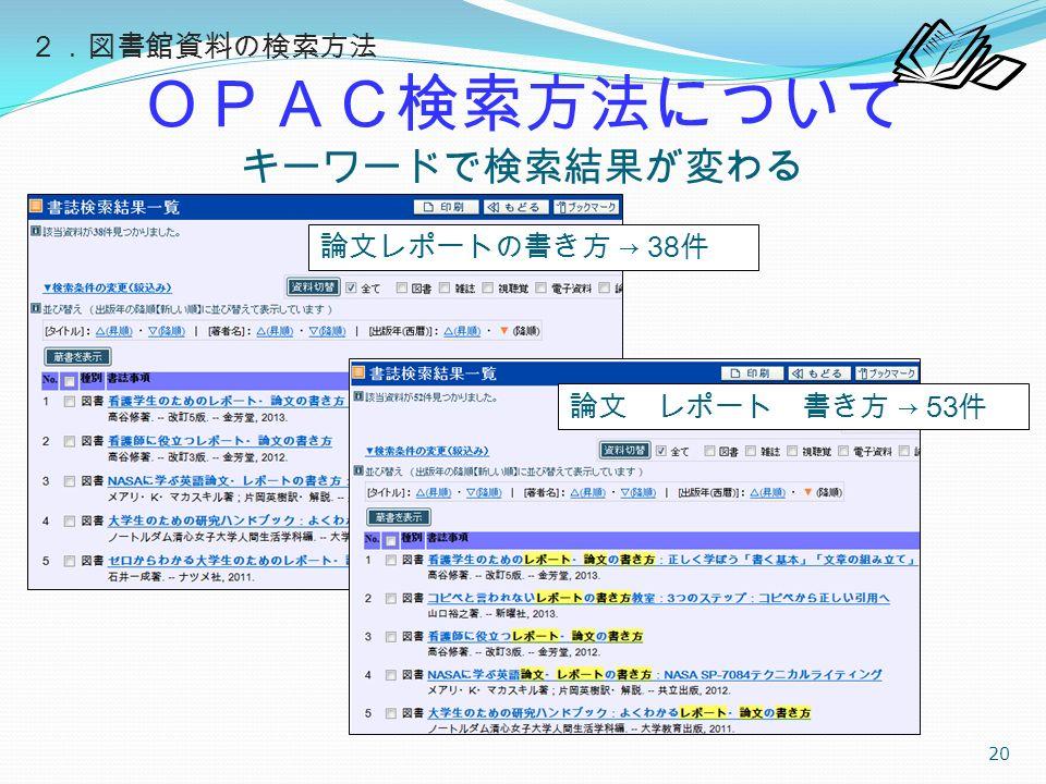 OPAC検索方法について キーワードで検索結果が変わる 20 論文レポートの書き方 → 38 件 論文 レポート 書き方 → 53 件 2.図書館資料の検索方法