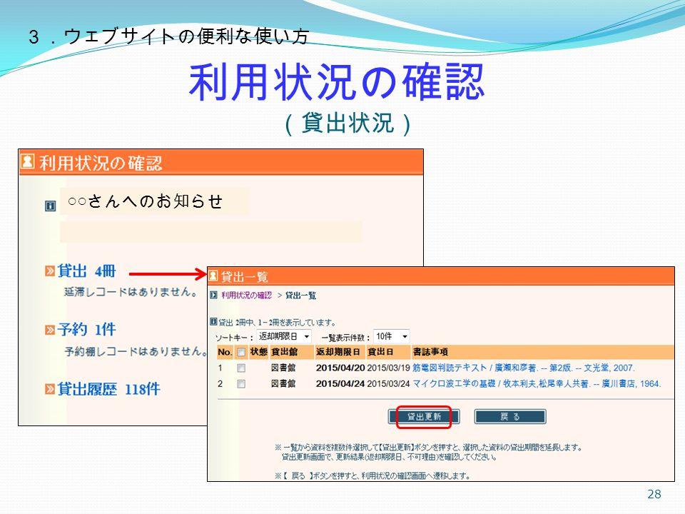 利用状況の確認 (貸出状況) 28 ○○ さんへのお知らせ 3.ウェブサイトの便利な使い方